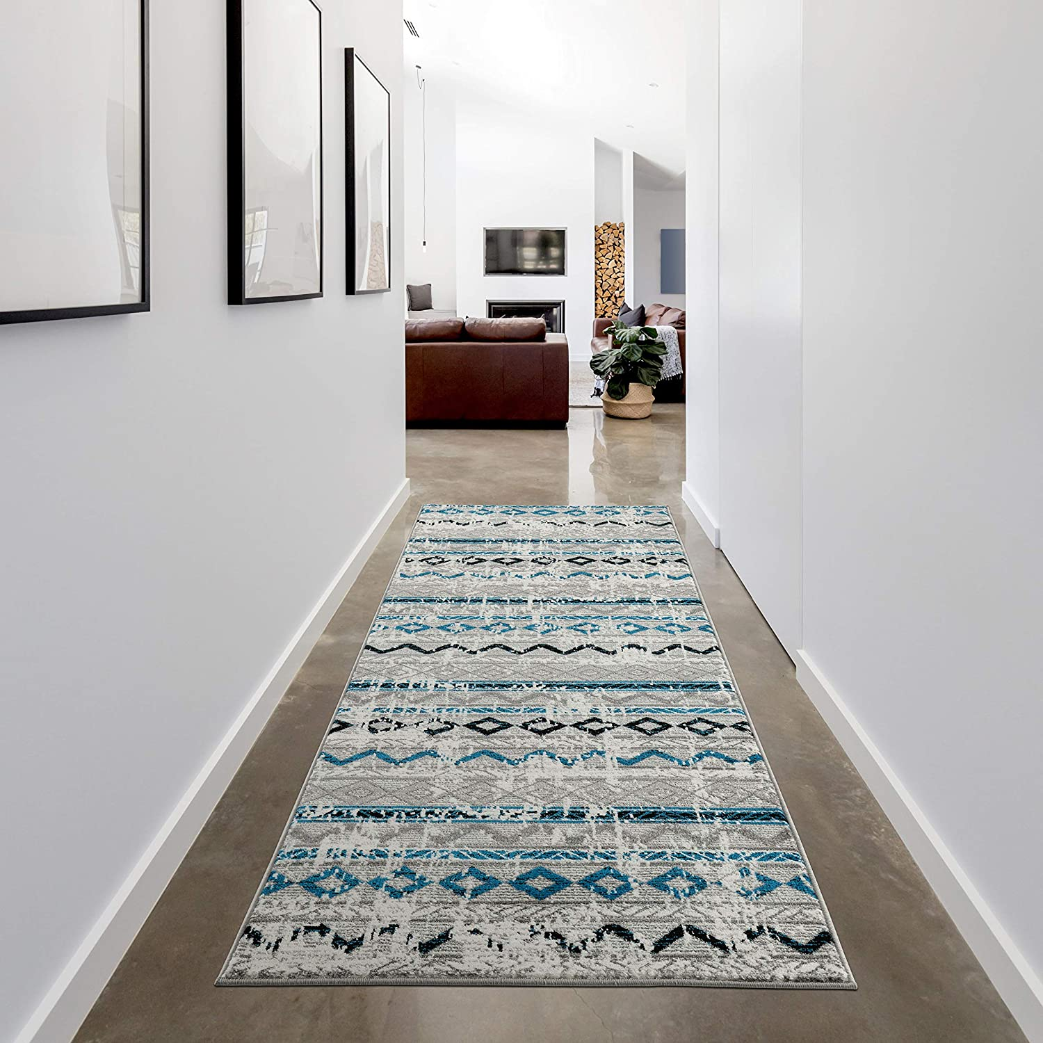 Grey Blue Runner Rug 2.6 x 7.9 by LOOM&WEAVE for Hallways, Entryway, Bed Sides, Kitchen & Bathroom - Instantly Transform Your Modern, Farmhouse or Bohemian Home Décor (BAL)