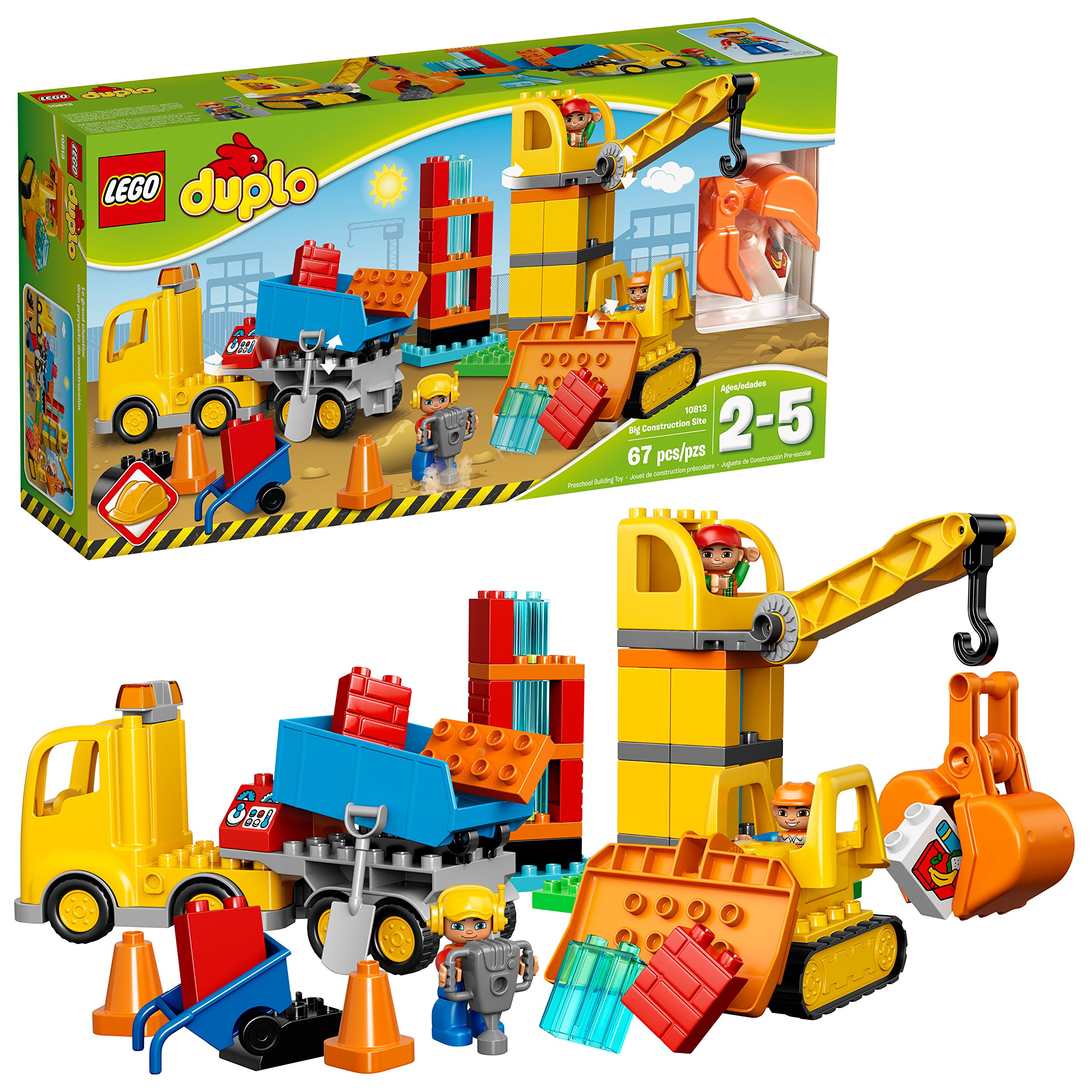 LEGO Duplo Big Construction Site 10813 Toddler Construction Toy Set with Toy Dump Truck, Crane and Bulldozer (67 Pieces) by LEGO