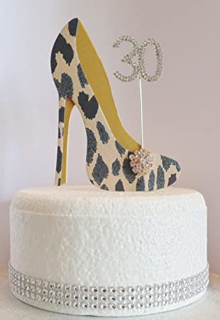 The Cake Wardrobe 30th Birthday Decoration Leopard Print Shoe With Gold Sole Age 30 Amazoncouk Toys Games