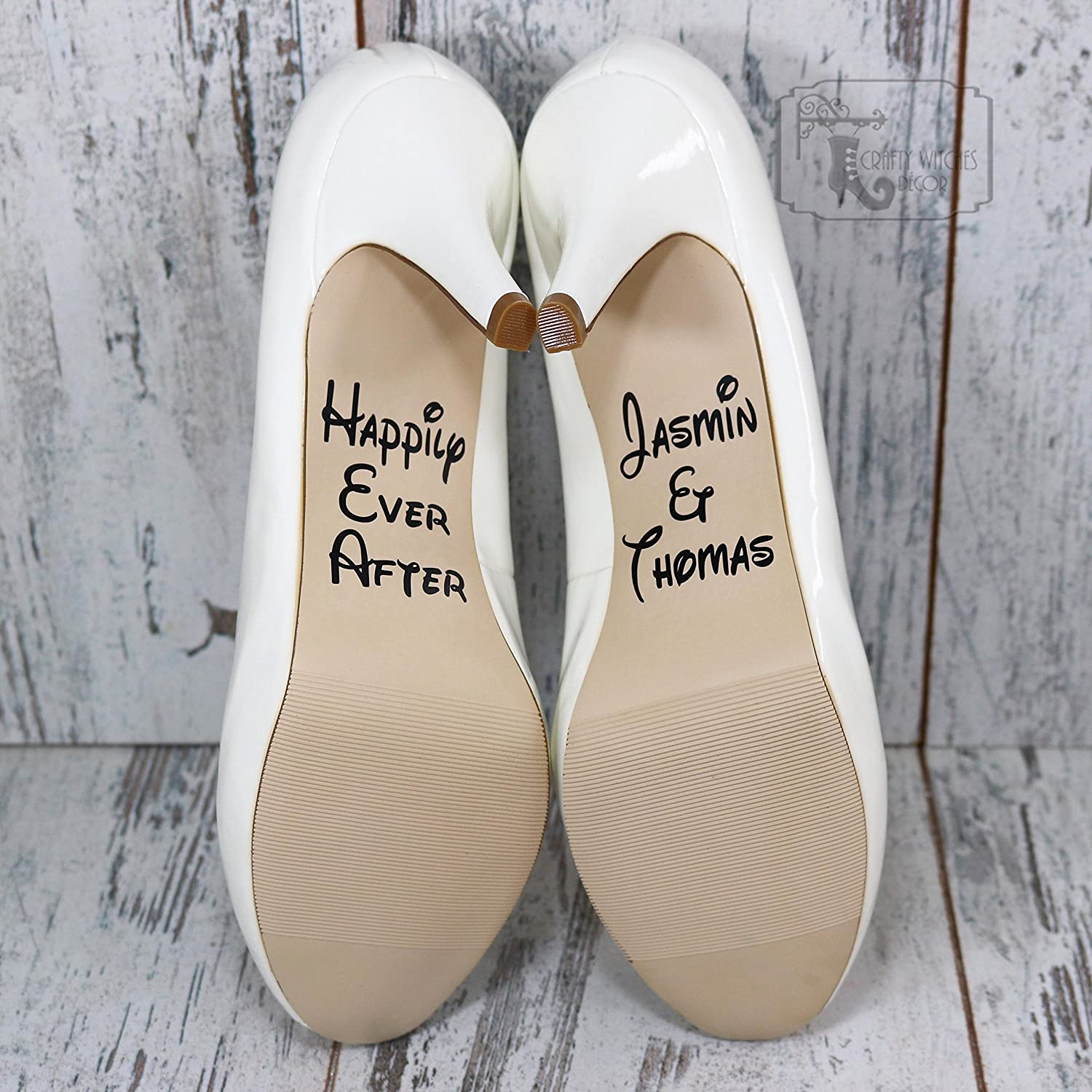 294f317109218 Amazon.com: Personalized Happily Ever After Wedding Shoe Decals ...