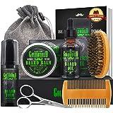 Beard Kit,Beard Growth Kit,Beard Grooming Kit,w/Beard Foam/Shampoo/Wash,Growth Oil,Balm Conditioner,Brush,Comb,Mustache Sciss