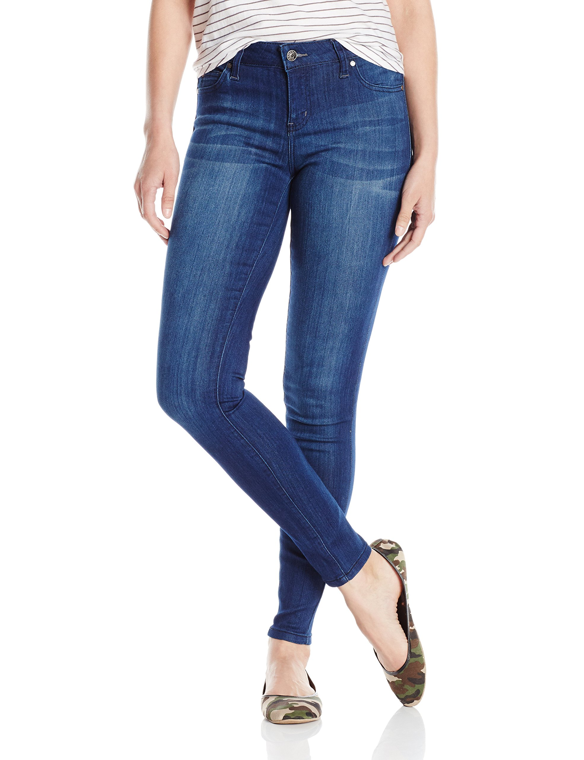 Celebrity Pink Jeans Women's Infinite Stretch Mid Rise Skinny Jean, Vintage Dark, 9