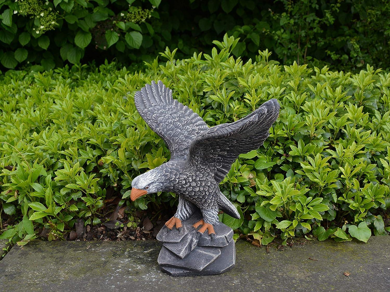 Massive Steinfigur großer Stein Adler Steinadler Vogel aus Steinguss frostfest