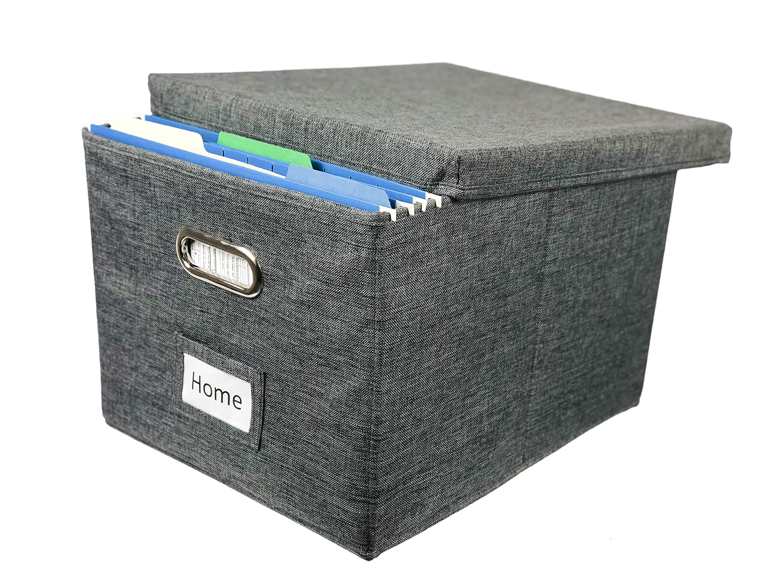 Viluh Collapsible File Box Storage Organizer | Decorative Linen Filing & Office Bin | Letter/Legal | Hanging Folders | Important Document Container | Charcoal Gray |