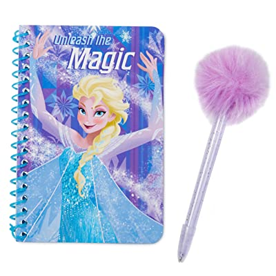 Tri-Coastal Design Disney Princess Frozen Journal Set with Fuzzy Pen - Spiral Soft Cover Diary Book with Clear Purple Glittery Pen Topped with a Ball of Lavender Fur: Toys & Games