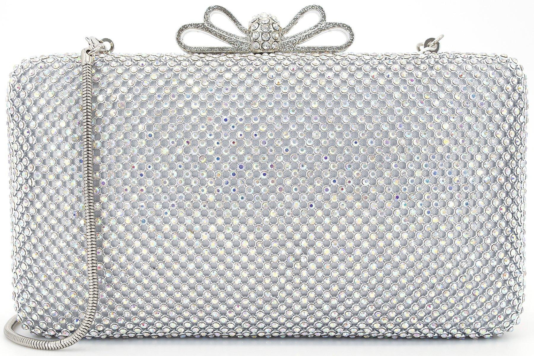 Dexmay Bling Rhinestone Crystal Clutch Purse Bow Clasp Women Evening Bag for Bridesmaid Wedding Party AB silver