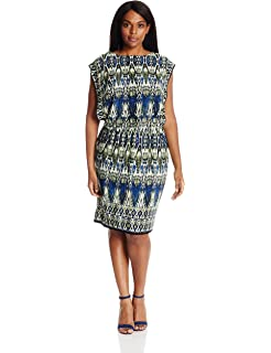 f6e6b3ee London Times Women's Petite Shutter Sheath with Broach Detail Dress ...