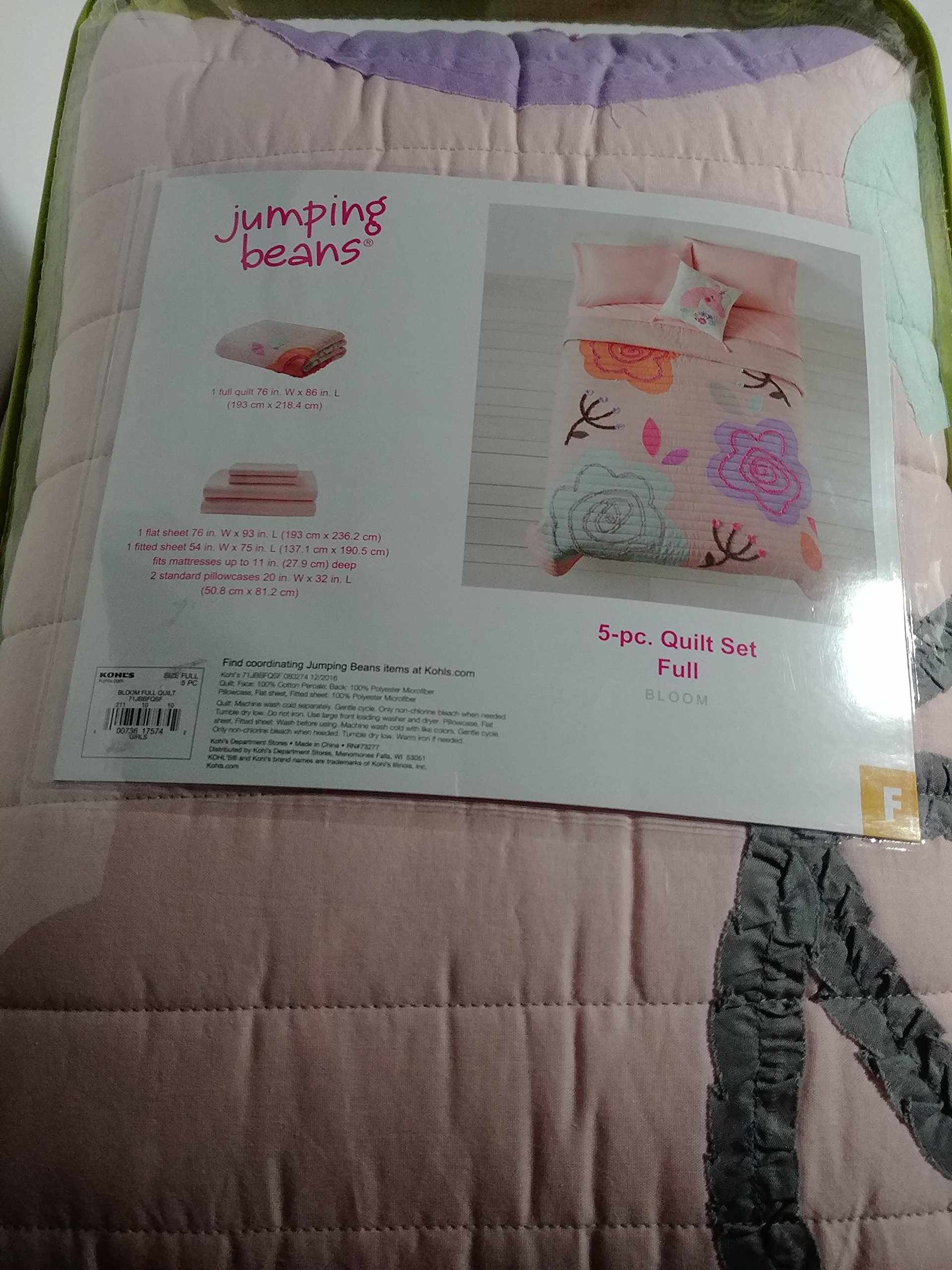Jumping Beans Back to School Quilt Bedding Set Bloom 5 Piece, Full
