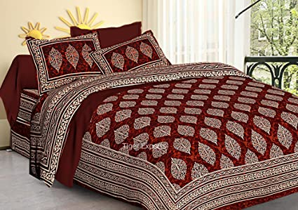 Jaipuri Bedspreads Double Cotton Bedsheets with 2 Pillow Covers (Multicolour, Queen)