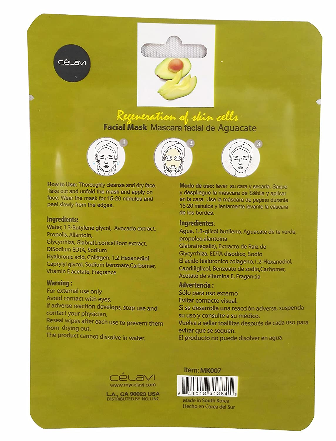 Amazon.com : Celavi Essence Facial Mask Paper Sheet Korea Skin Care Moisturizing 24 Pack (Avocado) : Beauty