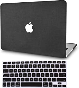 "KECC Laptop Case for MacBook Pro 13"" (2020/2019/2018/2017/2016) w/Keyboard Cover Plastic Hard Shell A2159/A1989/A1706/A1708 Touch Bar 2 in 1 Bundle (Black Fabric)"