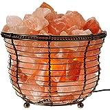 WBM Himalayan Glow 1301B Natural Air Purifying Himalayan Salt Lamp with Salt Chunks, Bulb and Dimmer Control, Round Basket Style