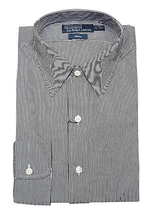 f33febacb07fe3 Polo Ralph Lauren Mens Andrew Cotton Dress Shirt Navy White Stripe 15.5/39