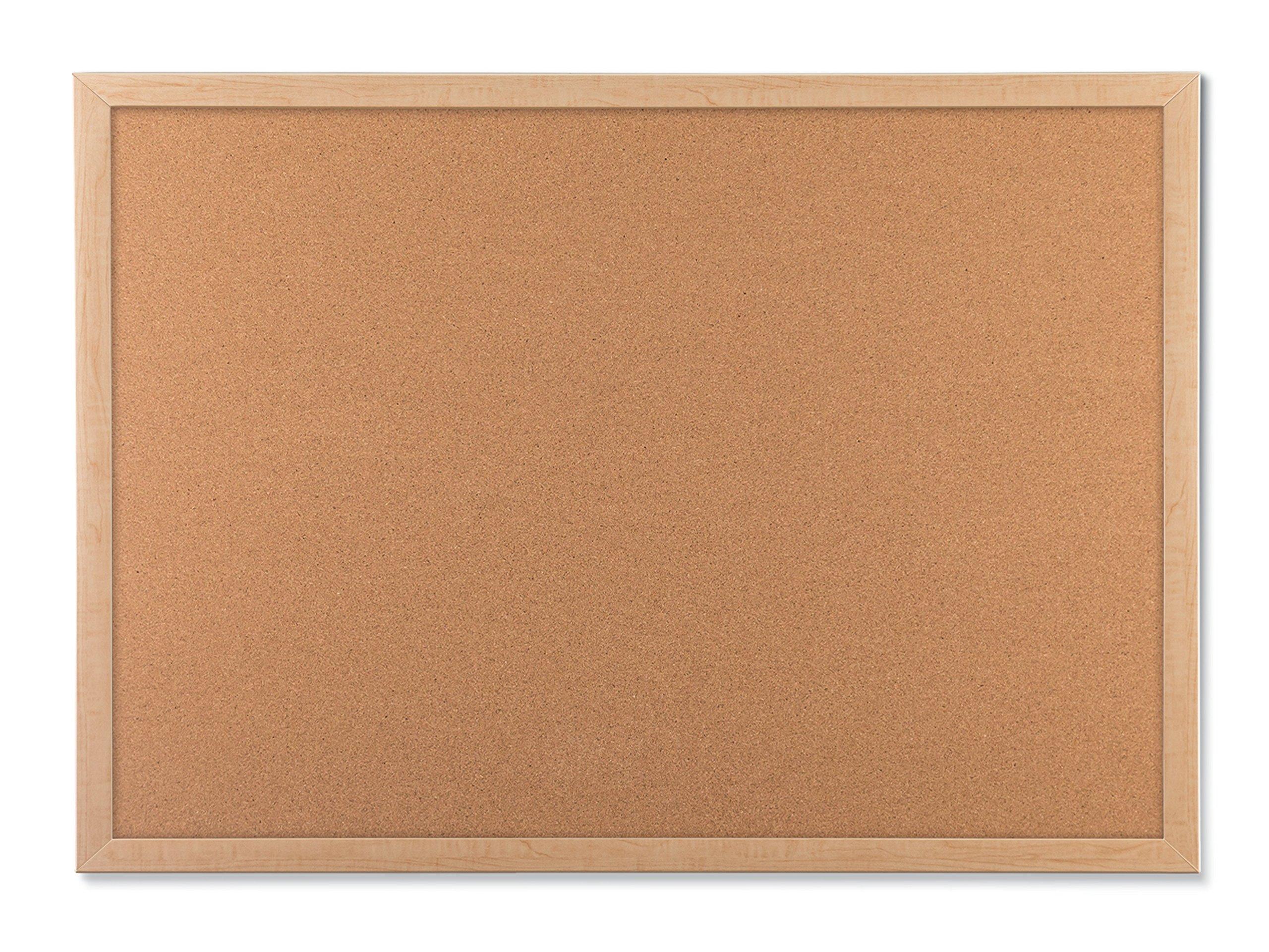 U Brands Cork Bulletin Board, 35 x 23 Inches, Light Birch Wood Frame