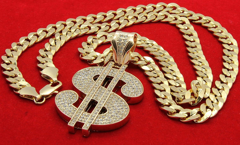 L /& L Nation 14K Gold Plated Hip Hop High Fashion Mula Money Dollar Sign Pendant w// 10mm 30 Concave Cuban Chain Necklace