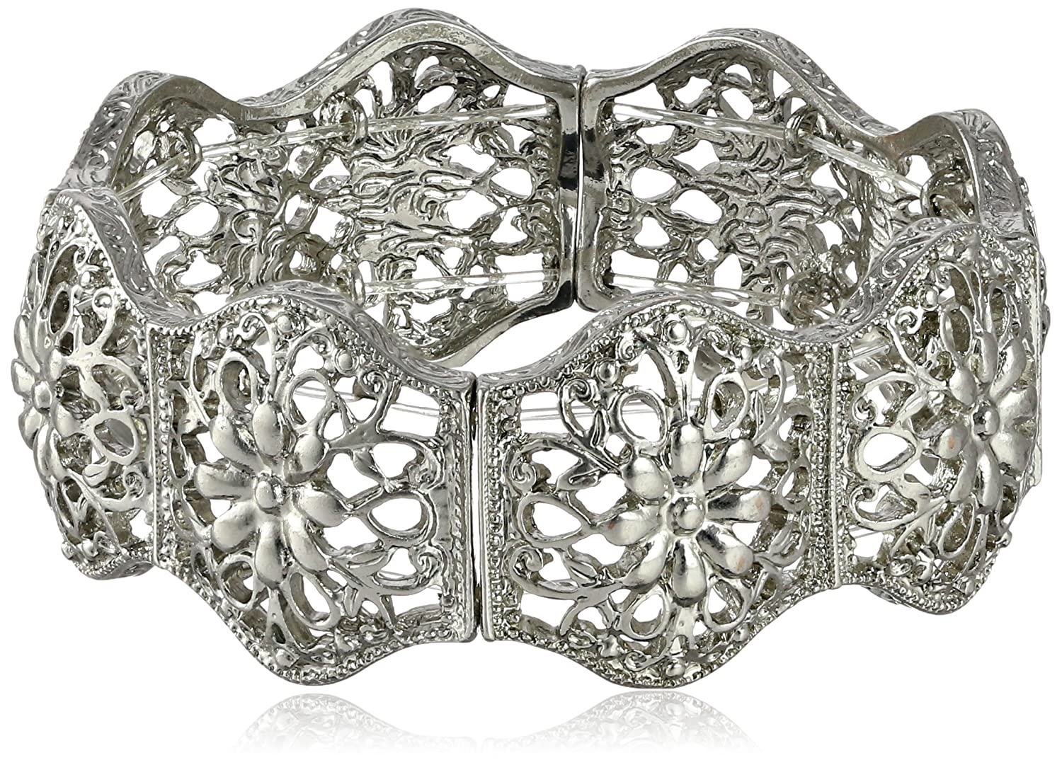 "1928 Jewelry ""Suriname"" Silver-Tone Flower Filigree Stretch Bracelet"