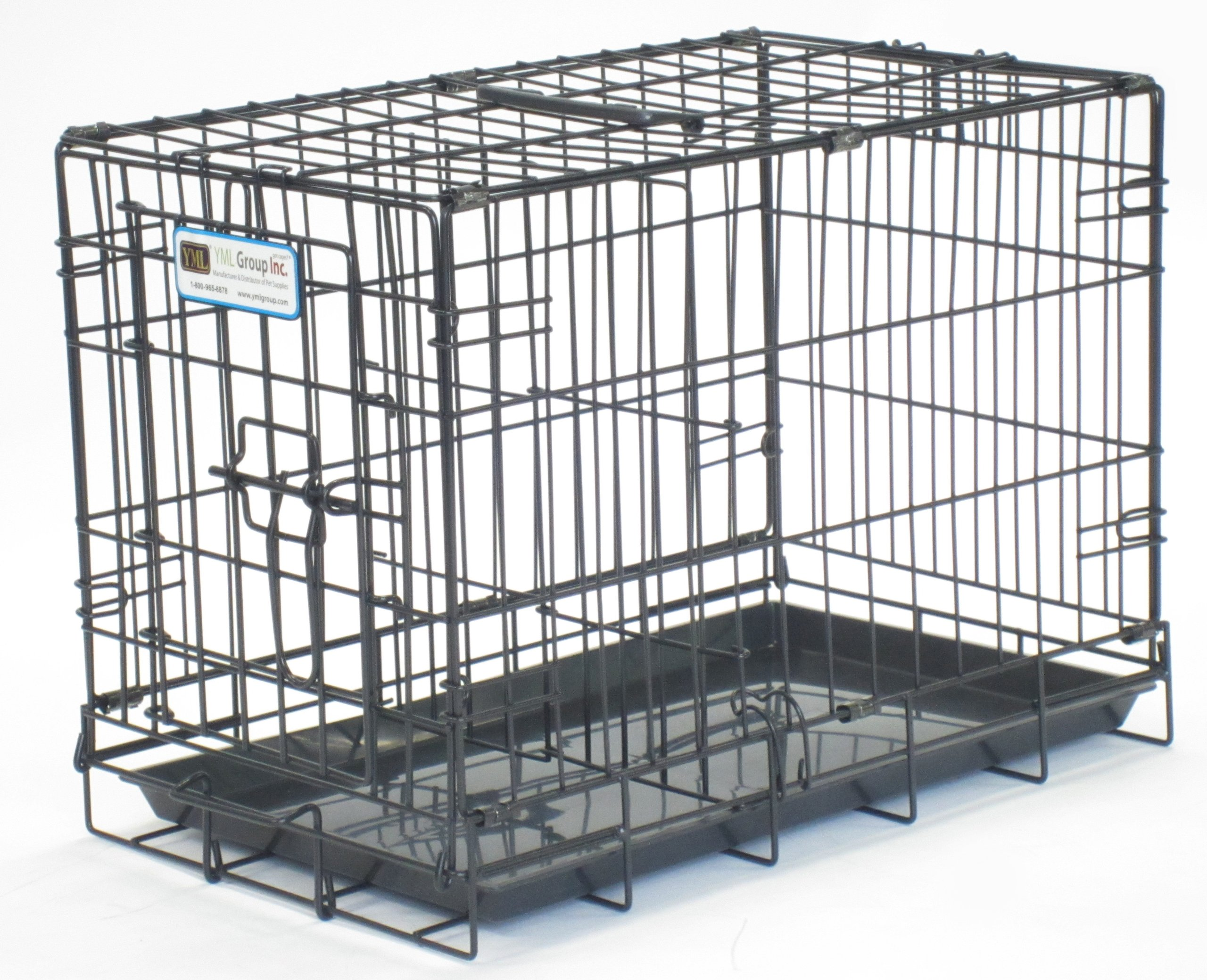 YML Heavy Duty Small Animal Dog Kennel Cage without Bottom Grate, 20-Inch, Black