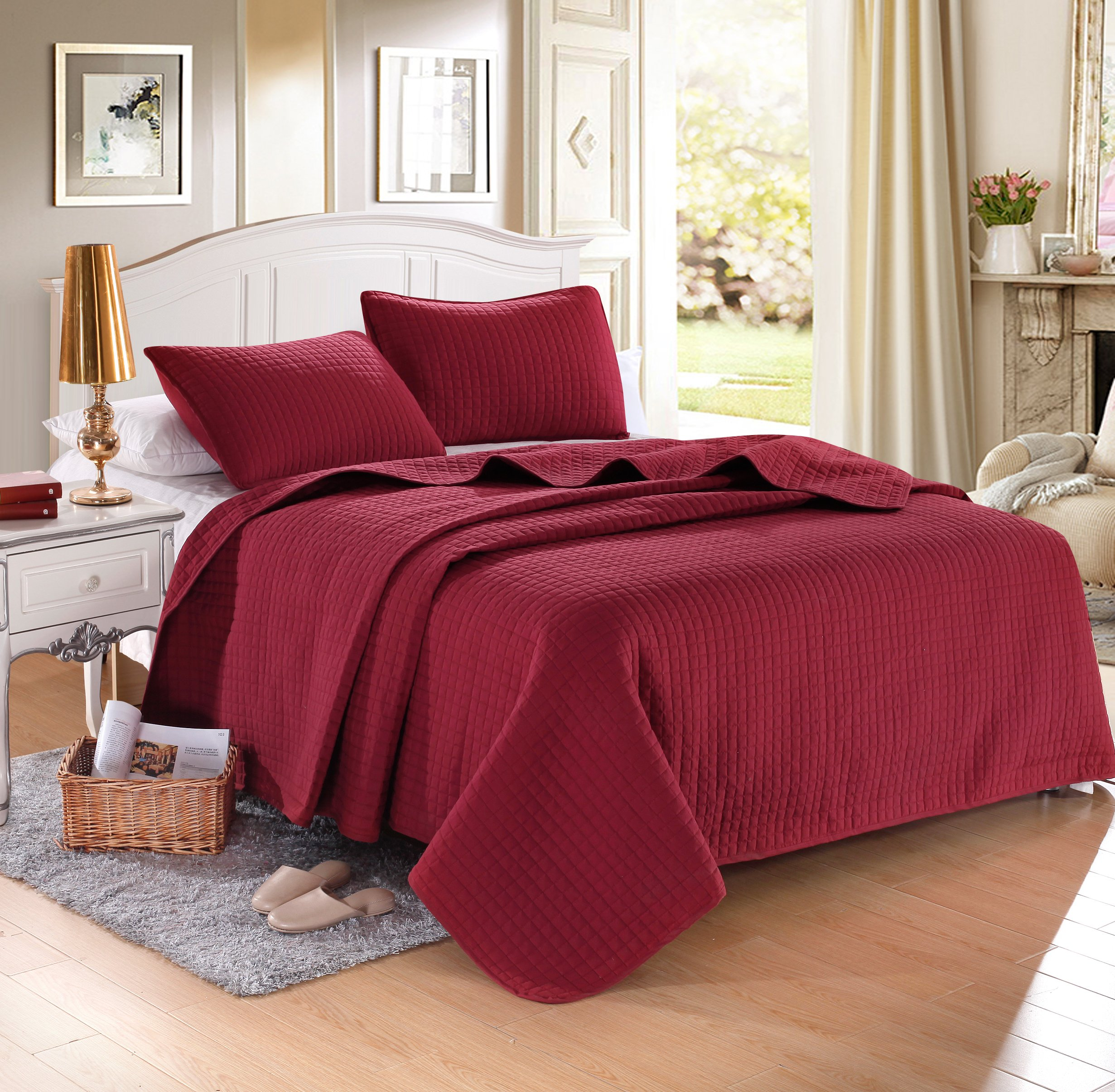 """QUEEN BURGUNDY Solid color Quilted Bedspread Coverlet(90""""x102"""") +2 shams (20""""x26"""") Hypoallergenic Overfilled Bedcover for homes,hotels/motels, Airbnb, rentals polyester filling 120gsm-5.11lbs"""
