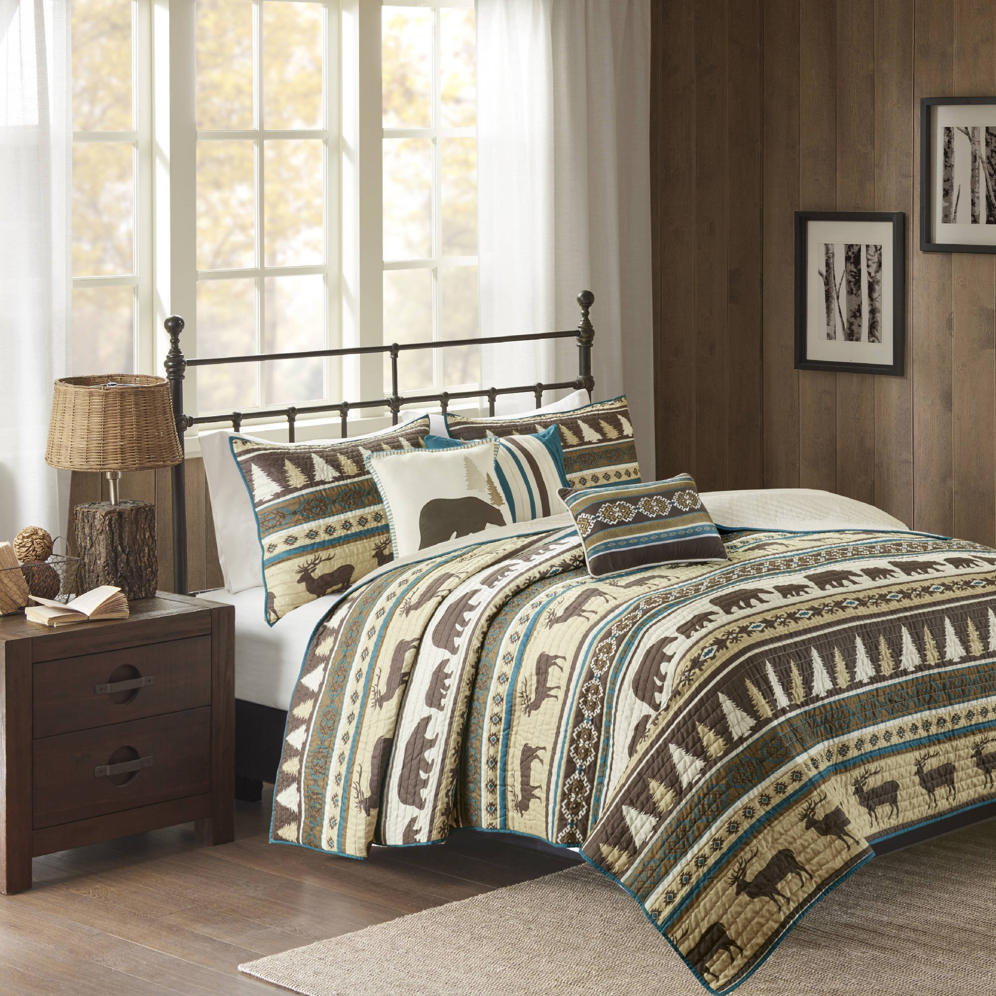 6 Piece Brown White Stripe King/Cal King Coverlet Set, Lodge Animal Print Themed Bedding, Cabin Country Tartan Pattern Cottage Woods Bears Deer Pine Trees Horizontal Diamond Patterns,Polyester