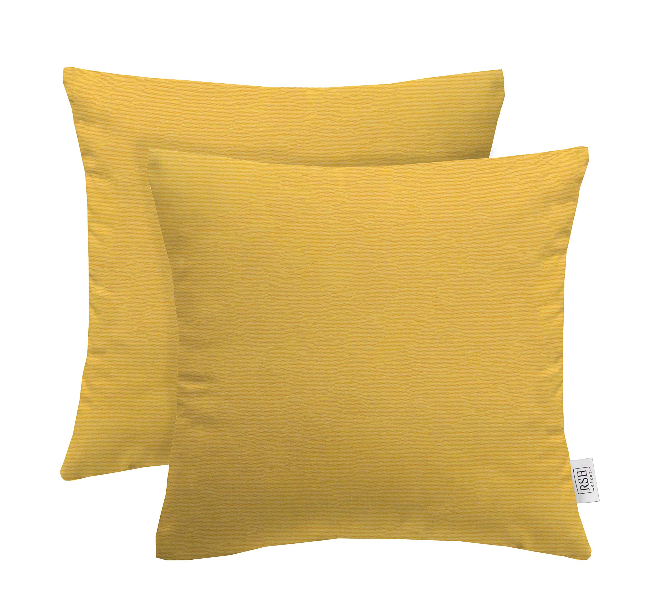 RSH Décor Set of 2 Indoor Outdoor Decorative Square Throw Pillows Made of Sunbrella Canvas Buttercup Yellow (17'' x 17'')