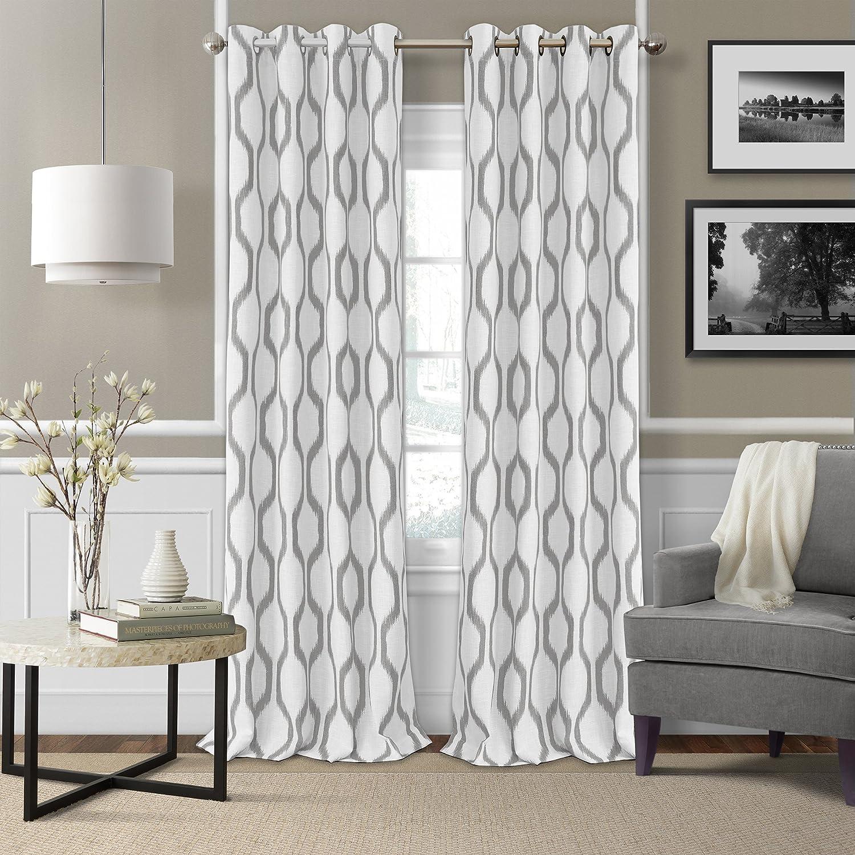 Elrene Home Fashions Renzo Ikat Geometric Linen Room Darkening Window Curtain Panel, 52