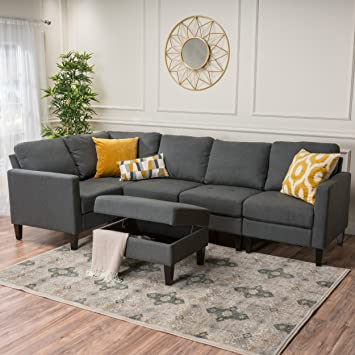 Christopher Knight Home 300122 Zahra Fabric Sectional Couch with Storage Ottoman Dark Grey