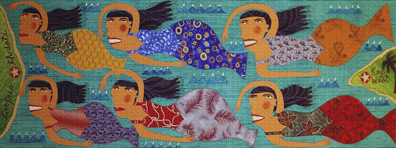Art Needlepoint Mermaid Migration Needlepoint Canvas by Chris Roberts-Antieau