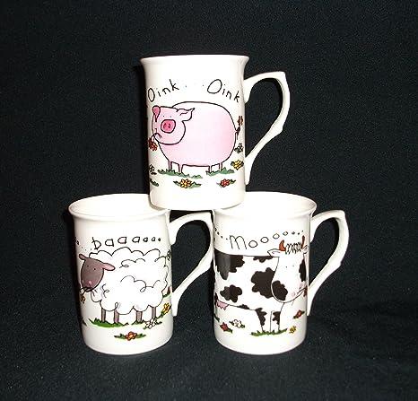 6 tazas de porcelana fina con diseño de oveja carcasa diseño de animales de la granja