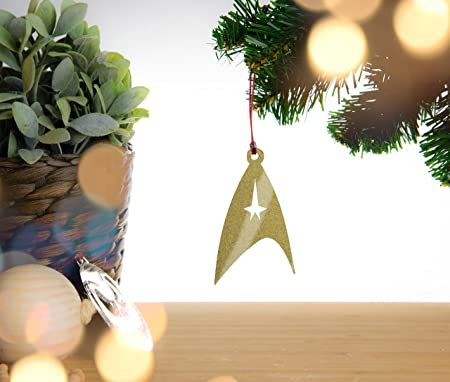 Star Trek LOGO Christmas Decoration. Gold Sparkle Acrylic Christmas ...