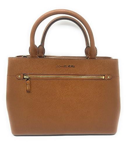 Amazon.com  MICHAEL Michael Kors Women s HAILEE Medium Satchel Leather  Handbag LUGGAGE  Shoes 9f2155de74023