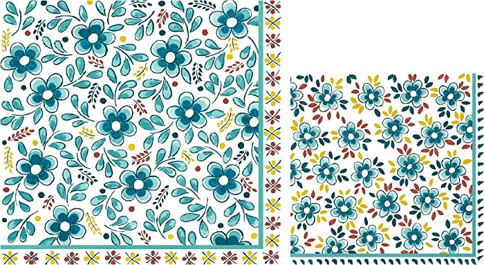 Le Cadeaux Turquoise Paper Napkins | Disposable Dinner and Cocktail Paper Napkin Set, 20 Count Each | Floral Theme with Shades of Aqua