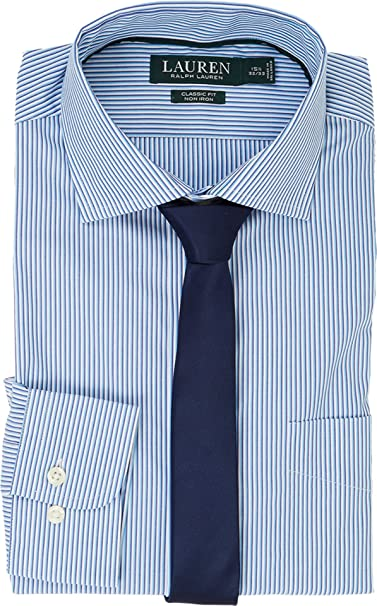 3d20b48bb764 Lauren Ralph Lauren Men s Classic Fit Estate Collar with A Pocket Dress  Shirt Trinidad Blue