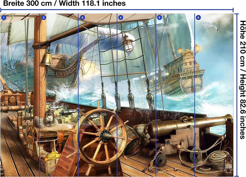 6 parti Carta da parati fotografica murale wandmotiv24 Carta da parati Galeone nave pirata L 300 x 210 cm carta da parati non tessuta M1068 carta da parati a motivi