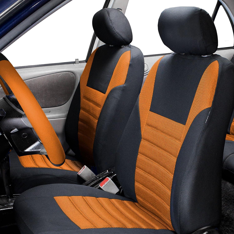 Premium 3D Air mesh Design Airbag Compatible FH Group FB068BLUE102 Half Blue Universal Bucket Seat Cover