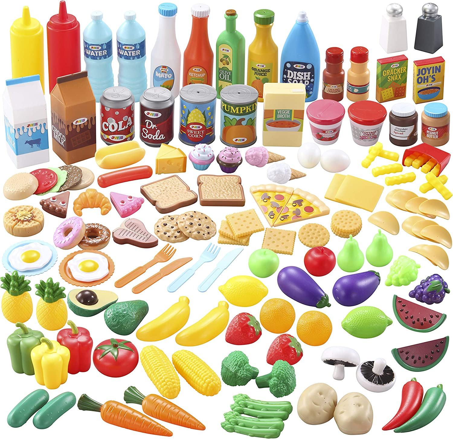 JOYIN 135 PCS Pretend Kitchen Play Food Toy with Fruit, Vegetable, Tableware, Bottle - Kids Education Kitchen Toy for Toddler Boys and Girls