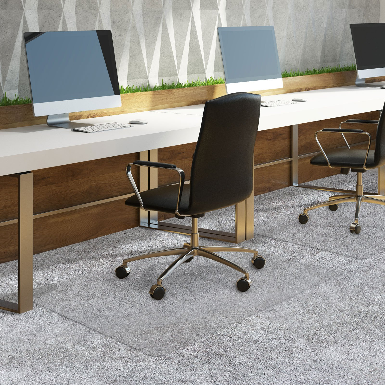 Office Chair Mat for Carpeted Floors | Desk Chair Mat for Carpet | Clear PVC Mat in Different Thicknesses and Sizes for Every Pile Type | Medium-Pile 36''x48'' by OfficeMarshal (Image #3)