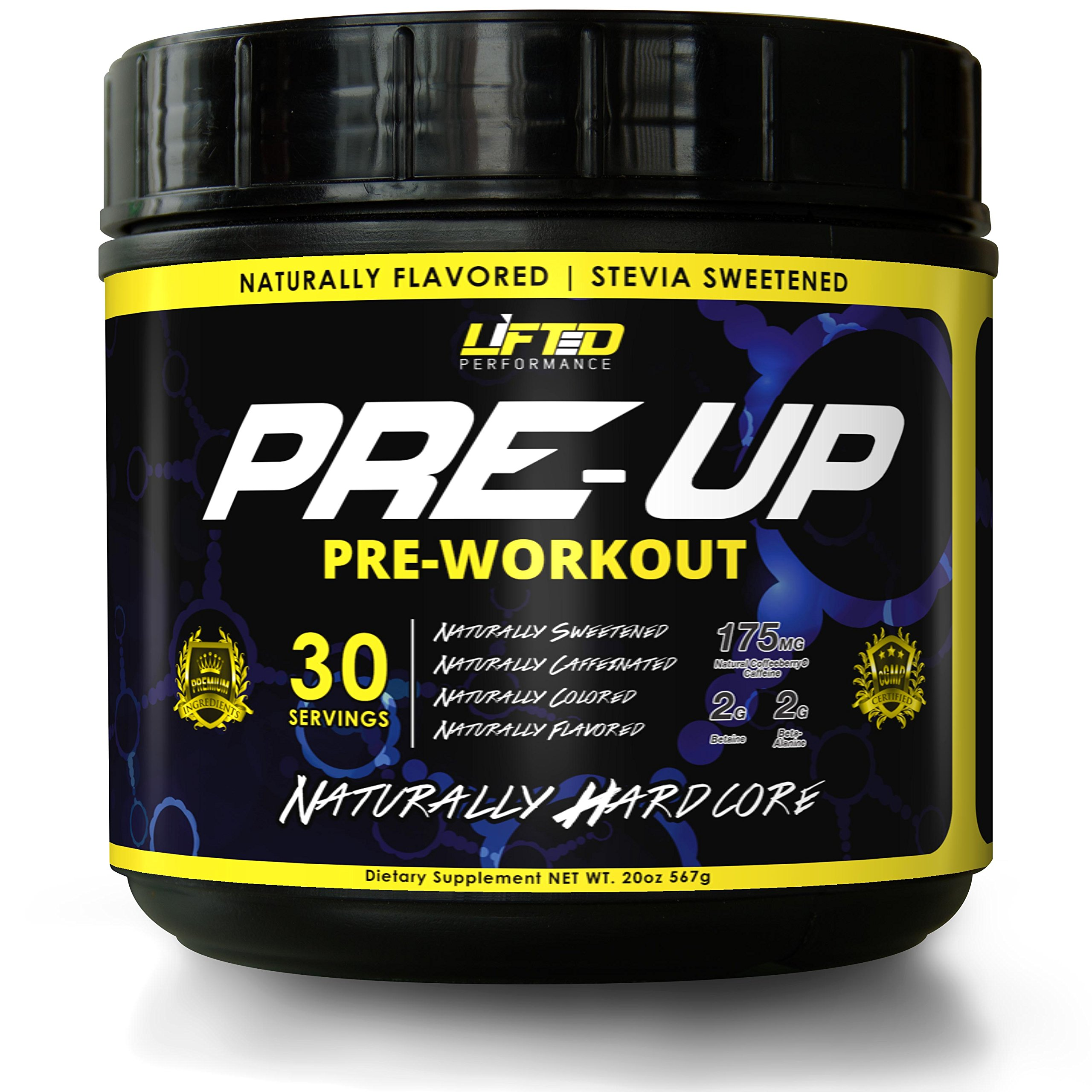 PRE-UP Best Natural Pre Workout Supplements for Men and Women. Increase energy & focus, boost strength & pumps! Stevia Sweetened. No Side Effect PreWorkout Powder by Lifted Performance. (60 Scoops)