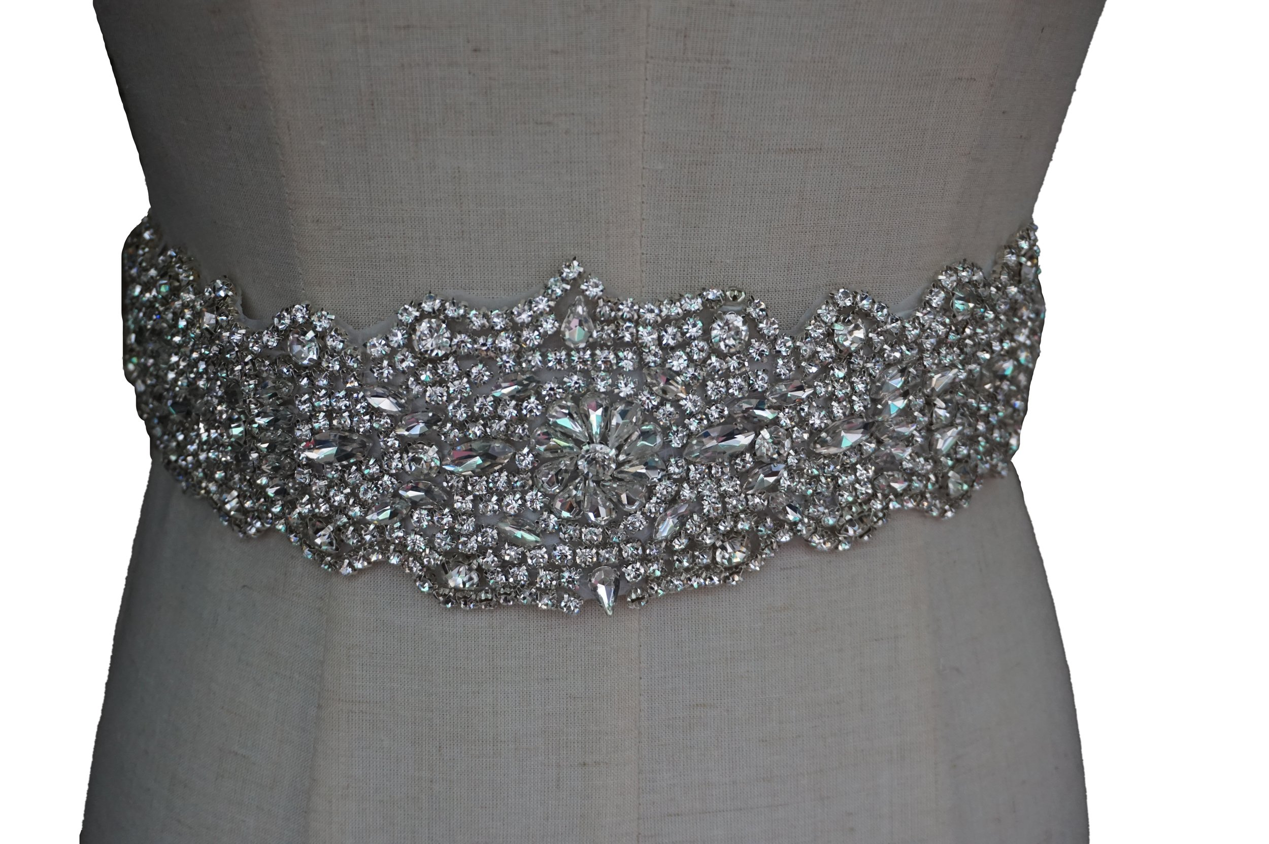 Meiysh Vintage Rhinestone Crystal Wedding Bridal Sash Belt,Off-White