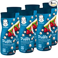 Deals on Gerber Puffs Cereal Snack, Strawberry Apple, 6 Count