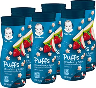 Gerber Puffs Cereal Snack, Strawberry Apple, 6 Count (Packaging may vary)