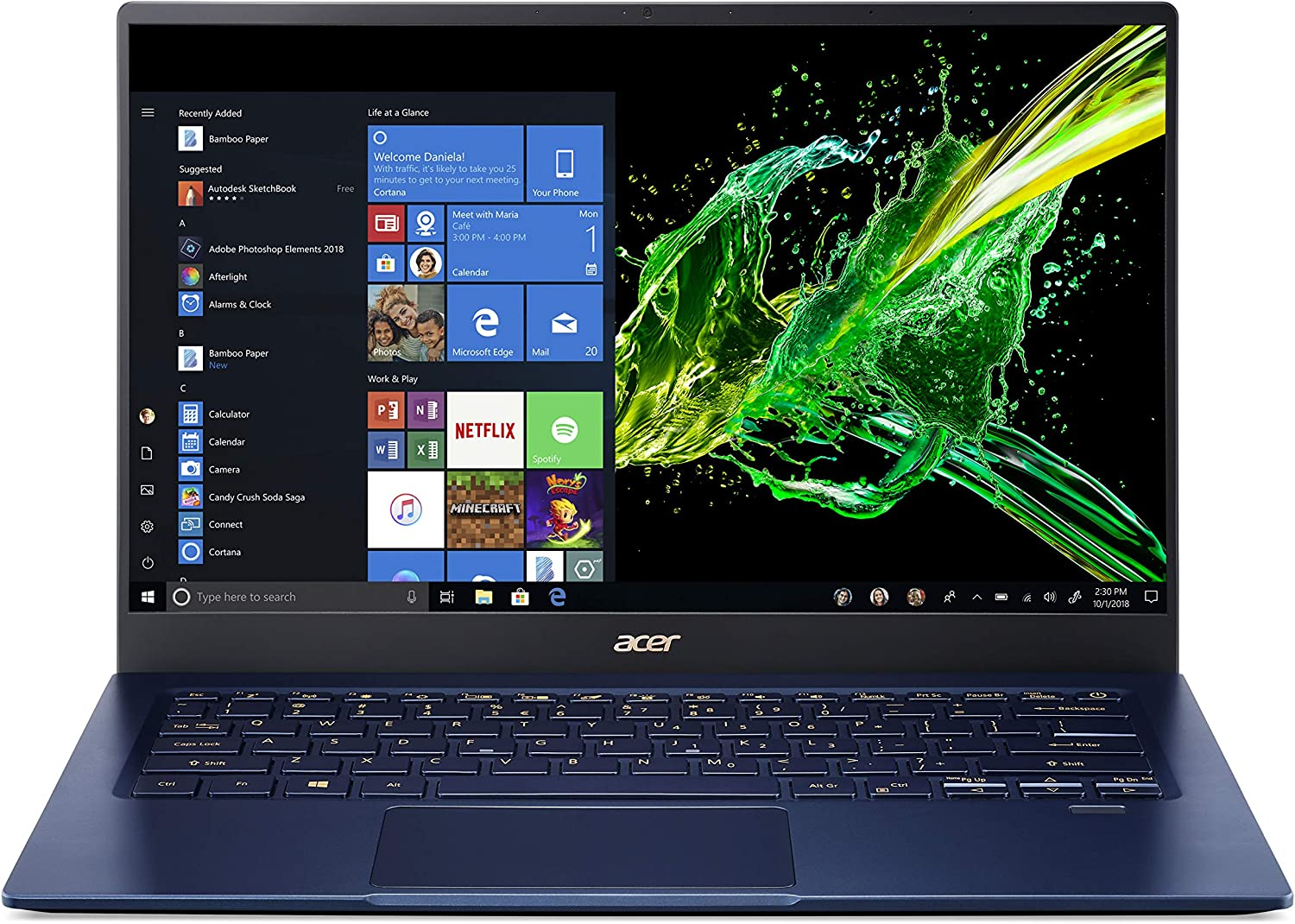 "Acer Swift 5 Ultra-Thin & Lightweight Laptop, 14"" Full HD IPS Touch, 10th Gen Intel Core i5-1035G1, 8GB LPDDR4, 512GB PCIe NVMe SSD, FP Reader, Wi-Fi 6, Back-lit Keyboard, Windows 10, SF514-54T-5428"