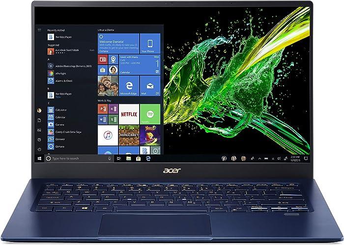 "Acer Swift 5 Ultra-Thin & Lightweight Laptop, 14"" Full HD IPS Touch, 10th Gen Intel Core i5-1035G1, 8GB LPDDR4, 512GB PCIe NVMe SSD, FP Reader, Wi-Fi 6, Back-lit Keyboard, Windows 10, SF514-54T-5428"