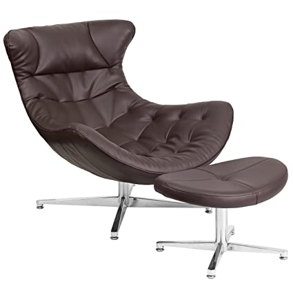 51bce8164d9b0 Flash Furniture Brown Leather Cocoon Chair with Ottoman