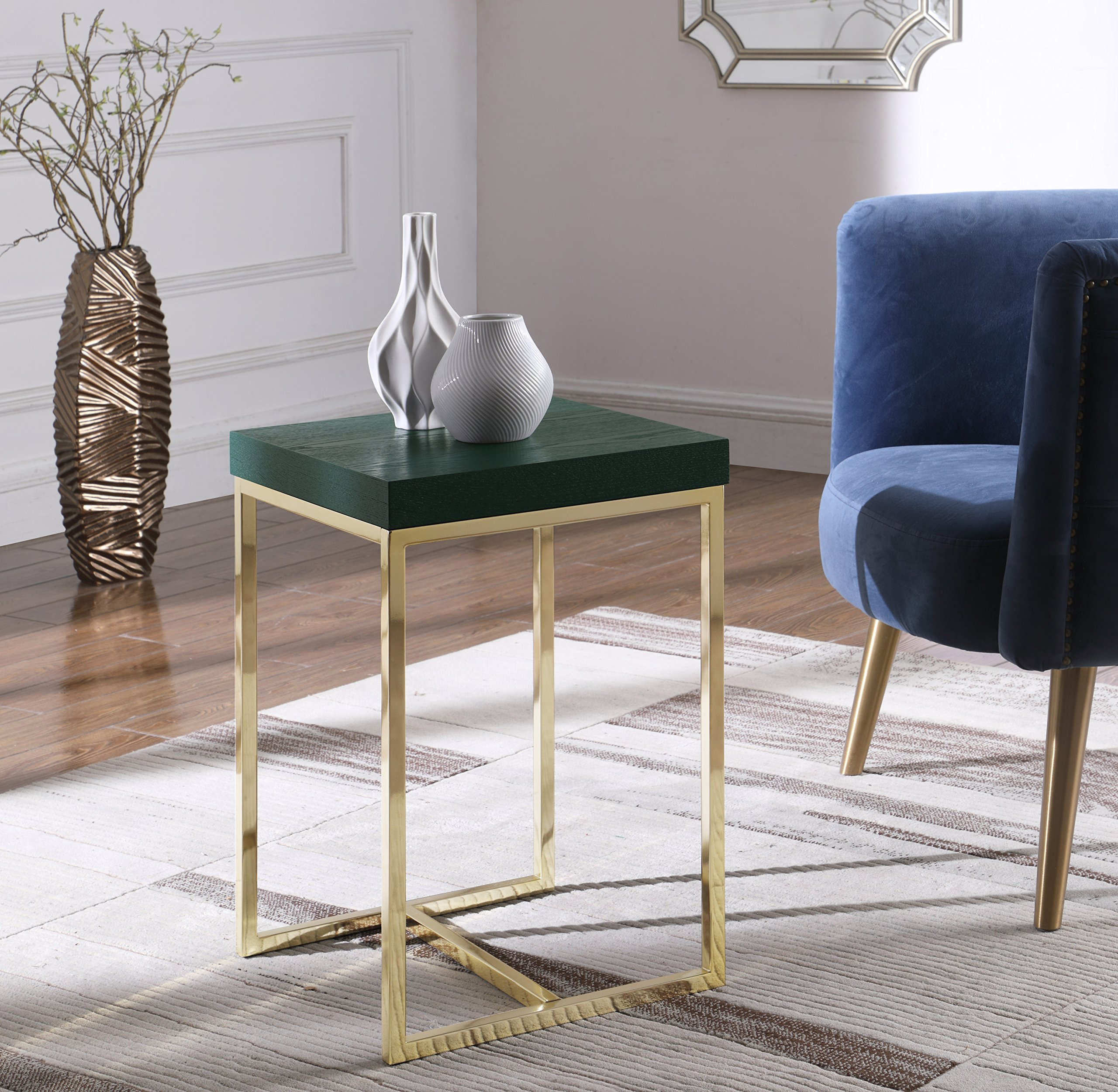 Iconic Home Colmar Nightstand Side Table with Ash Veneer Top Brass Brushed Stainless Steel Base, Modern Contemporary, Green