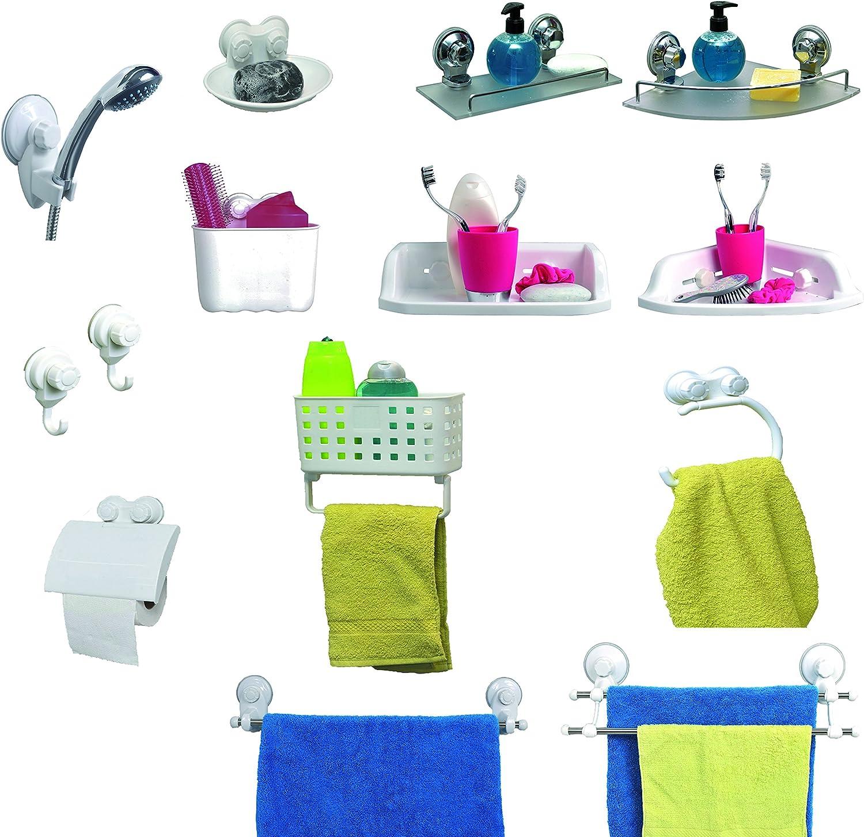 Tendance Porte serviette 2 barres//ventouses blanc