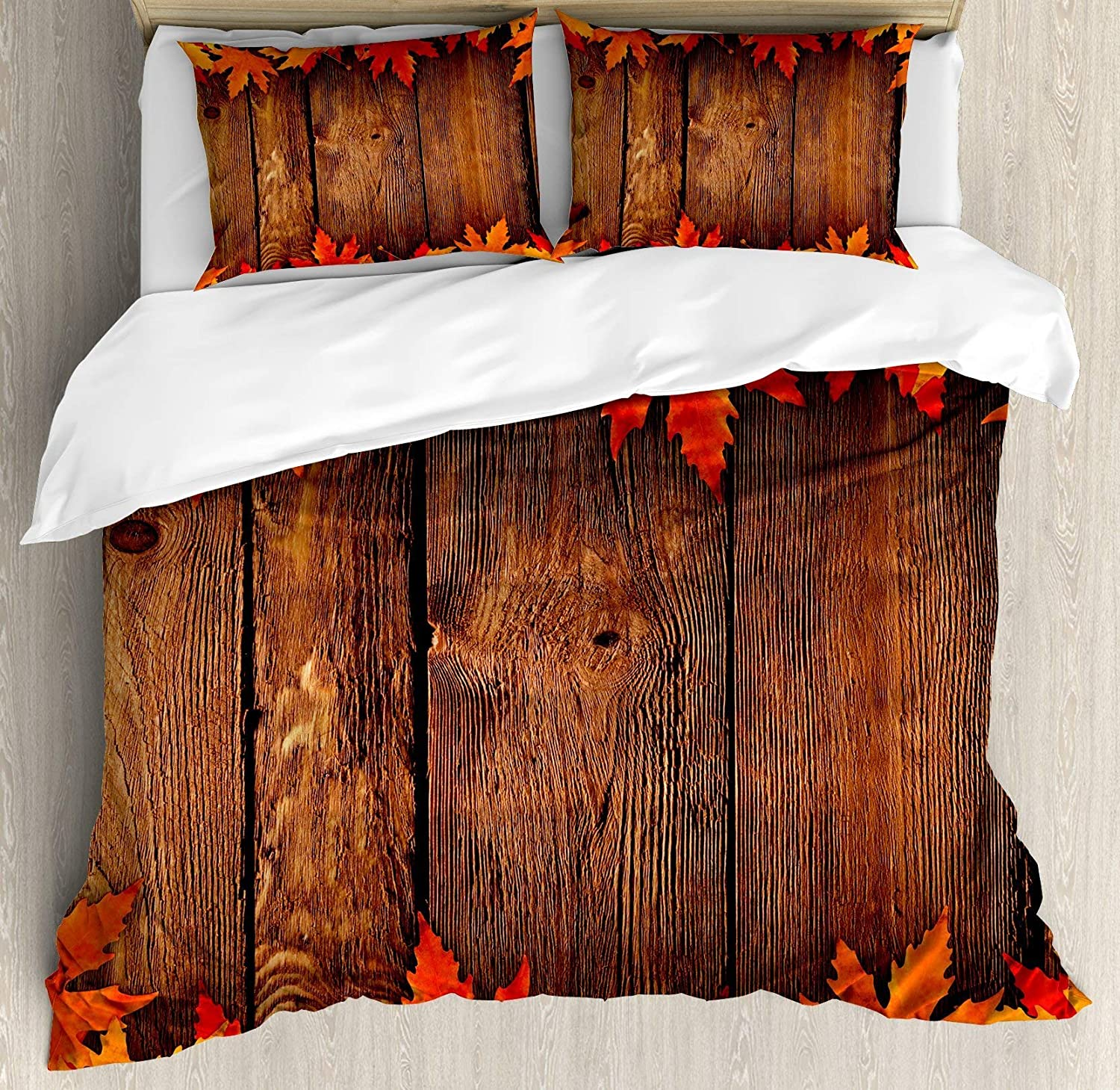 Multi 4 Twin BULING Fall 4pc Bedding Set Twin Size, Dry Leaves Poured onto Wooden Board Cabin Cottage Rustic Country Life Theme Print Floral Lightweight Microfiber Duvet Cover Set, Brown orange