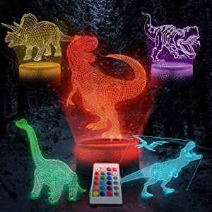 Trendy Home & Garden 3D Dinosaur Night Light- 5 Designs 16 Colors Changing LED Decor Lamp with Remote. 3D Illusion Toy Lamp Nightlight