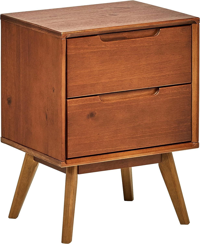 "Brand – Rivet Mid-Century Stark 2-Drawer Nightstand, 24""H, Walnut: Kitchen & Dining"