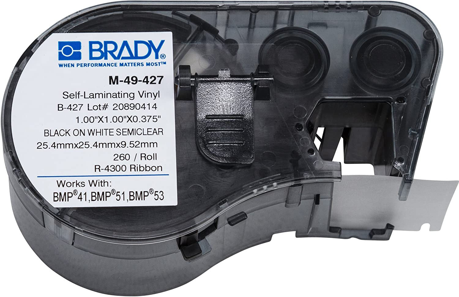 Brady Self-Laminating Vinyl Label Tape (M-49-427) - Black on White, Translucent Tape - Compatible with BMP41, BMP51, and BMP53 Label Makers - 1' Height, .375' Width and BMP53 Label Makers - 1 Height .375 Width
