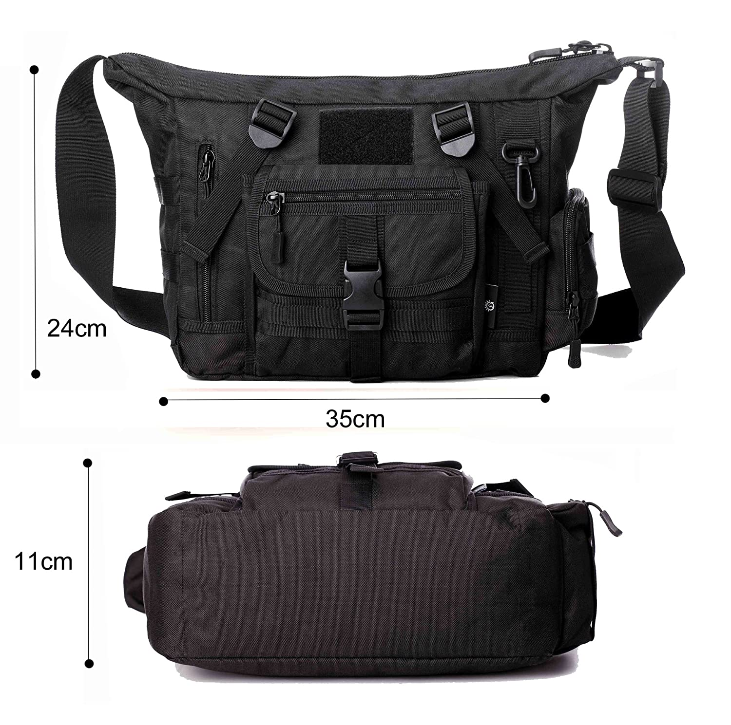 5b90ee553680 Amazon.com: Military Shoulder Bag Large Water Resistant Daypack with Molle  14 Inch Laptop Crossbody Messenger Bag for Hunting Camping Trekking Men  Women ...